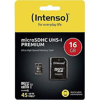 Intenso Premium microSDHC card 16 GB Class 10, UHS-I incl. SD adapter