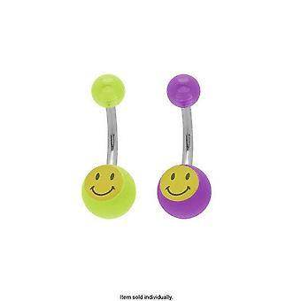 Acrylic smiley face belly button ring 14g