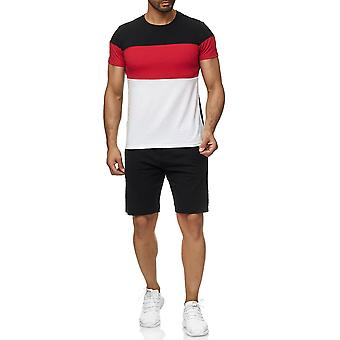 Mens sport Set T-Shirt Shorts Kombi färg blockering kortärmade tröja och byxor