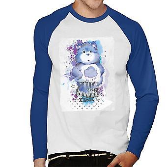Care Bears Grumpy Bear Hug på egen risiko Mænd's Baseball Langærmet T-shirt