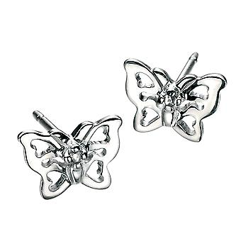 D for Diamond 925 Sterling Silver Childrens Filigree Butterfly Diamond Stud Earrings with Post & Butterfly