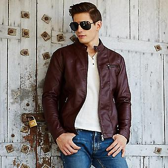 Spring And Autumn Thin Men's Collar, Pu Youth Motorcycle Leather Jacket