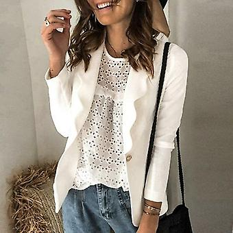 Women Solid Jacket Casual Notched Collar Work Suit Coats