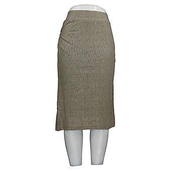 Lisa Rinna Collection Skirt Rib Knit Midi Skirt Olive Green A292270