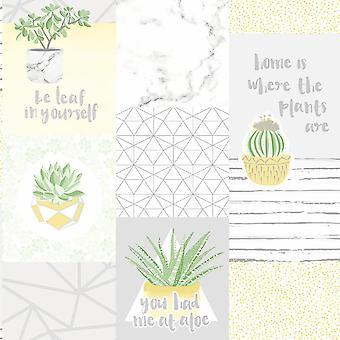 You Had Me At Aloe Yellow/Grey Wallpaper