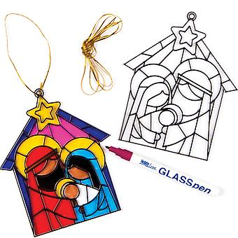Baker ross ef258 nativity suncatcher decorations, christmas crafts for kids to make and & display (p