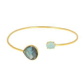 ADEN Gold Plated 925 Sterling Silver faceted labradorite and Amazonit Bracelet (id 4762)