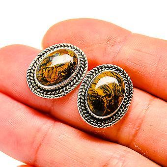 "Brincos Pietersite 3/4"" (925 Sterling Silver) - Handmade Boho Vintage Jewely EARR410532"