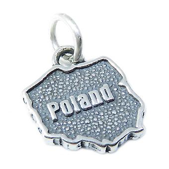 Poland Map Sterling Silver Charm .925 X 1 Polish Country Charms - 3417