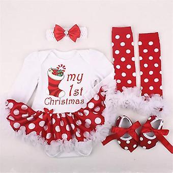 Baby Dress-Style Romper, Shoes, Socks And Headband Polka Dot Set, My 1St Christmas