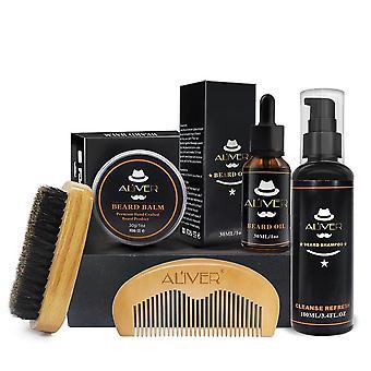 Shampoo Styling Oil Mustache Wood Comb Cream Beard Care Men Kit Brush