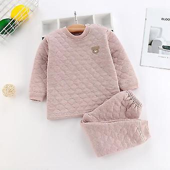 Lasten pyjamasetti - Puuvillapehmustettu toppi ja housut 3-kerroksisilla, paksulla lämpimällä