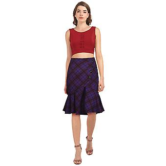 Chic Star Plus Størrelse Blusset Retro Nederdel I Purple / Plaid