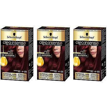 Schwarzkopf Oleo Intense 4-23 Burgundy Red Permanent Hair Dye Colour x 3