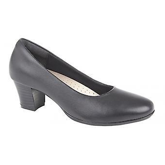 Mod Comfys Kleia Ladies Leather Court Shoe Black