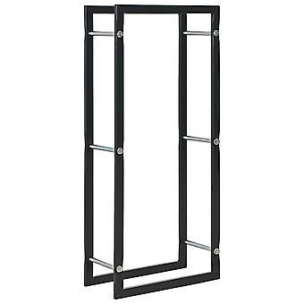 vidaXL firewood shelf Black 44 x 20 x 100 cm steel