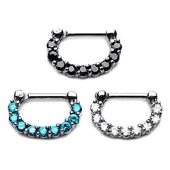 Septum clicker prong sæt juvel næse ring 14 gauge og 16 gauge