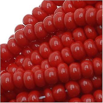 Cuentas de semillas checas 8/0 Rojo oscuro opaco (1 onza)