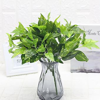 Artificial plant leaves 7 fork lifestrong plastic fake green plants 5pcs