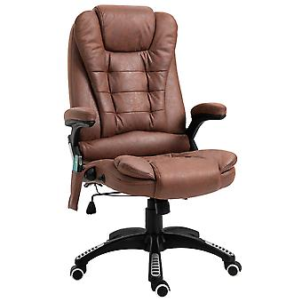 Vinsetto Massage Office Chair Recliner Ergonomic Gaming Heated Home Office Padded  Leathaire Fabric & Swivel Base Brown