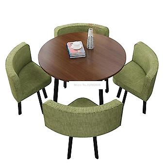 90cm 4 Person Coffee Table With Chair, Round/square Tea Table 4056