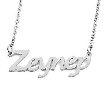"L ZEYNEP - Adjustable necklace with custom name, silver tonalit, 16""- 19"