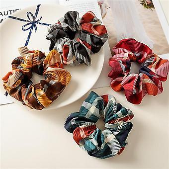 6Pcs women's retro hair band plaid fabric hair ties