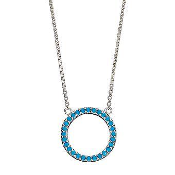 Inicios 925 Plata Esterlina Mujeres Pave Azul Verde Turquesa Nano Cristal Círculo Abierto Collar Longitud 45cm