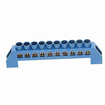 new blue 10 pin screw brass din rail terminal block ground and neutral blocks 4 6 8 10 12 way sm41931