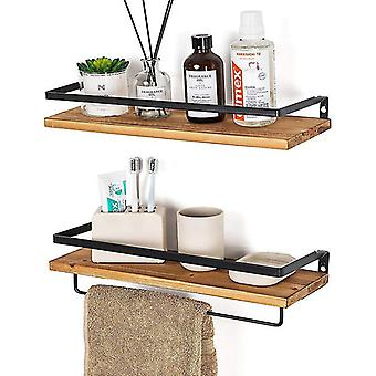 Wall Mounted Floating Shelves,solid Wood Storage Rack,set Of 2