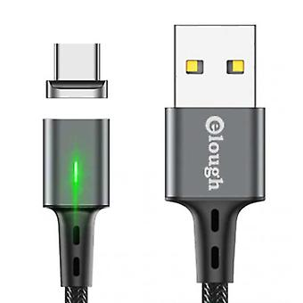 Elough USB-C Magnetic Charging Cable 2 Meters with LED Light - 3A Fast Charging Braided Nylon Charger Data Cable Android Gray