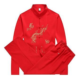 Taistelulajit Wushu Uniforms Miehet Tang Puku Painettu Pitkähihaiset Housut Kiinalainen Style Set Vaatteet
