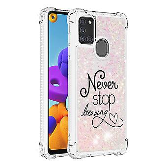 Case For Samsung Galaxy A21s Glitter Liquid Cute Clear Silicone Tpu Shockproof Cover - Rose