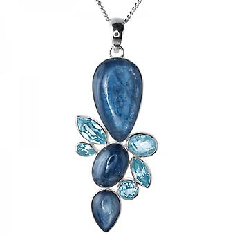 Shipton and Co Ladies Shipton And Co Silver And Three Kyanite Cabochons And Blue Topaz Pendant Including A Chain TMO002KYBT