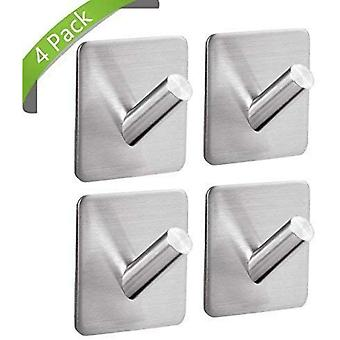4 Stainless Steel Self-adhesive Hooks Can Be Used To Hang Bathrobes, Towels, Hooks And Toiletries, Adapted To The Kitchen, The Bathroom, In The Living