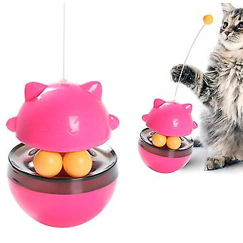 Cat Toys Tumbler,slow Food Feeder Funny Cat Stick Toy(Red)