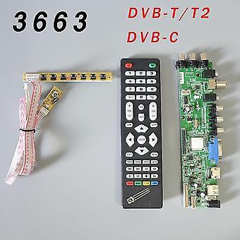 V56/v59 Univerzální LCD driver board podpora DVB-t2 Tv Board+7 Key Switch+ir 3663