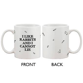 Забавные и милые кролик керамическая кружка кофе - я как кролики, и я не могу врать
