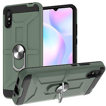 Boîtier pour Xiaomi Redmi 9a Rotative Ring Kickstand Hockproof Protection contre les chocs -vert