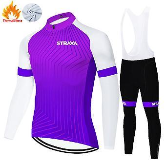 Strava Men's Winter Thermal Fleece Cycling Jersey Set + 3d Pants Trousers /purple