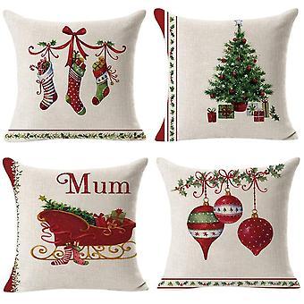 Set von 4 Weihnachtsbaum Socken Sofa Kissen Bezug 18 mal 18 Zoll