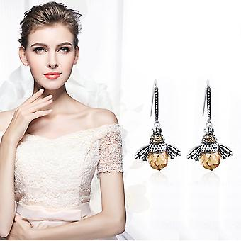 Boucles d'oreilles Dancing Bee Sterling Silver Queen Bee Dangle Boucles d'oreilles pour les femmes adolescentes