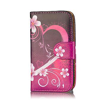 Design book wallet case cover for Samsung Galaxy S5 mini SM-G800 - Love Heart