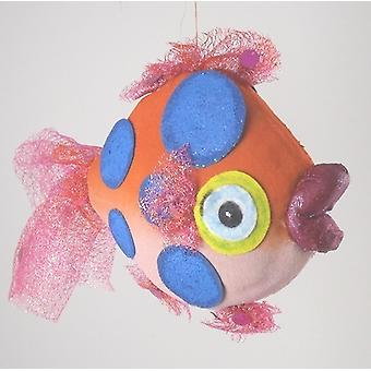 Orange  Blue Dots Tropical Fish Nautical Beach Christmas Holiday Tree Ornament