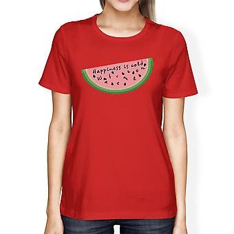 Happiness Is Cold Watermelon Funny Womens Graphic Cotton T-Shirt