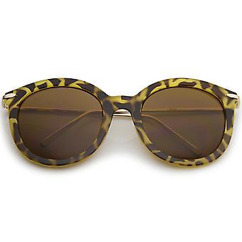 Gafas de sol de clásico gran tamaño Ultra Slim Metal templo redondo de las mujeres 56mm