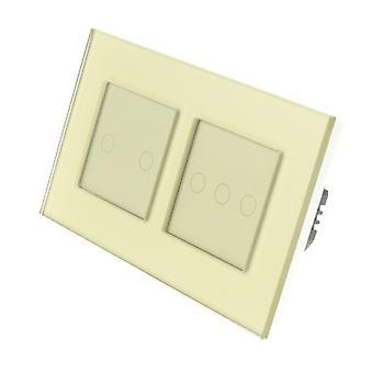 Я LumoS золото стекла Двойная рамка 5 Gang 1 способ удаленного WIFI / 4G сенсорный LED выключатель золота Вставка