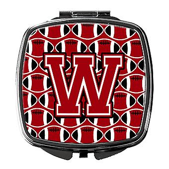 Letter W Football Red, Black and White Compact Mirror
