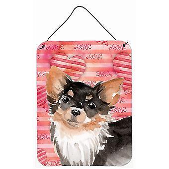 Langharige Chihuahua liefde muur of deur hangen Prints