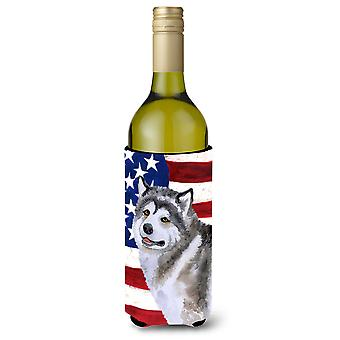 Alaskan Malamute patriótico garrafa de vinho Beverge isolador Hugger